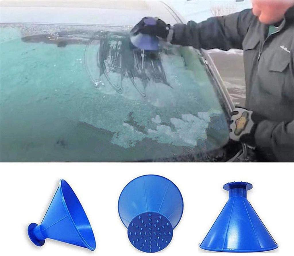 Daxuan Round Windshield Ice Scrapers Magical Car Windshield Ice Snow Remover Scraper Tool Portable Cone Shaped Round Funnel