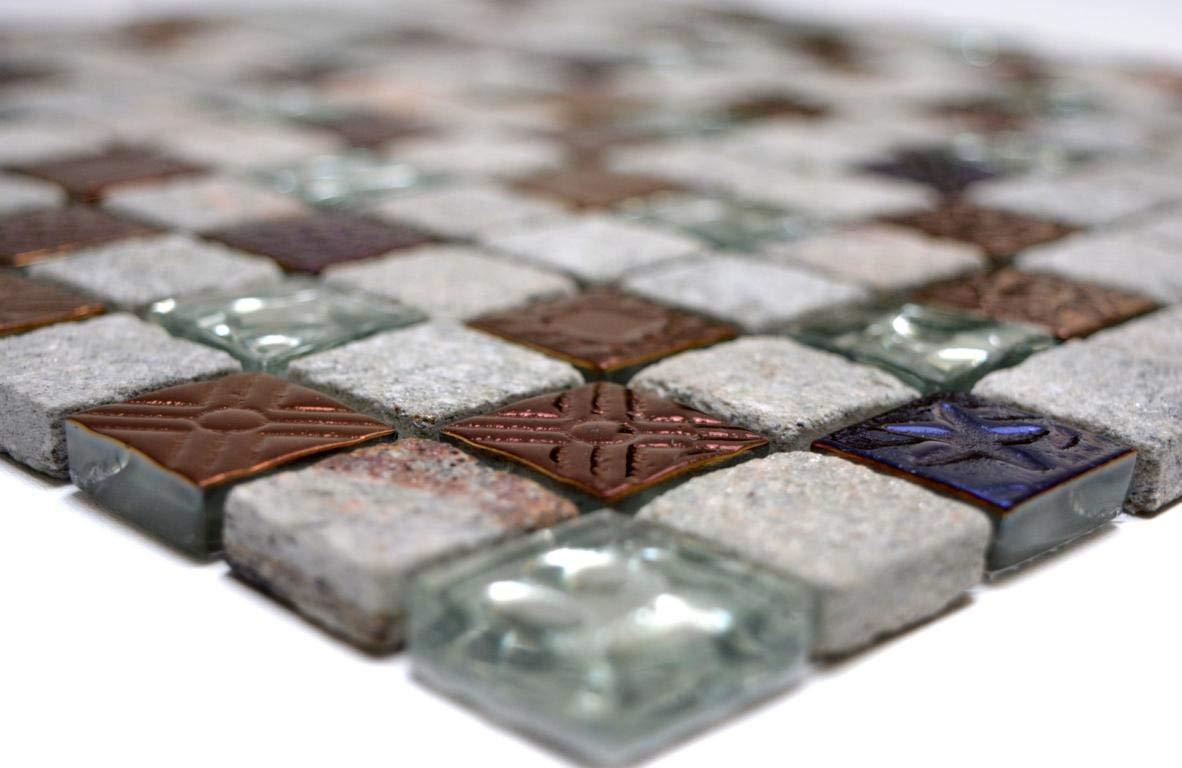 123mosaikfliesen Fliesen Mosaik K/üche Bad WC Wohnbereich Fliesenspiegel Grau mix Glas Stein matt 8mm Neu #K932