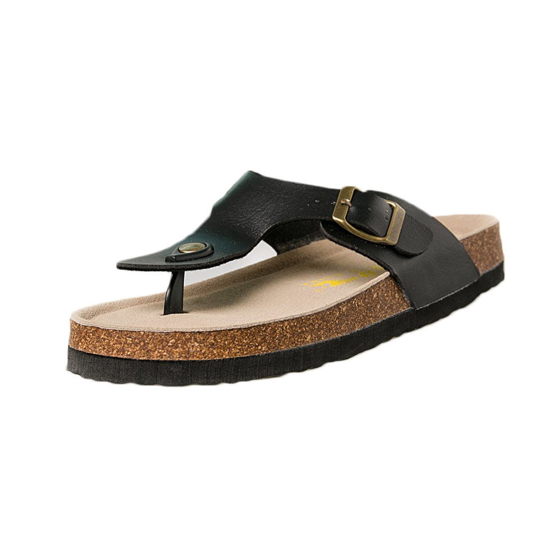 Rockynice Women's Glitter Casual Buckle Thong Slip-On Chunky Platform Wedge Sandal Beach Slides Plus Size B07BC63PLQ 36 M EU|Black
