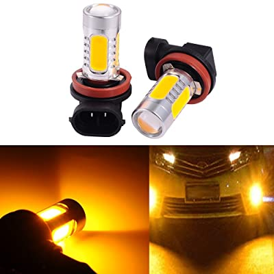 ATMOMO 2 PCS Car H8 H11 33-SMD LED Xenon Head Light Headlight Bulbs Lamp or Daytime Running Lights Lighting DRL 12V 7.5W - Yellow: Automotive