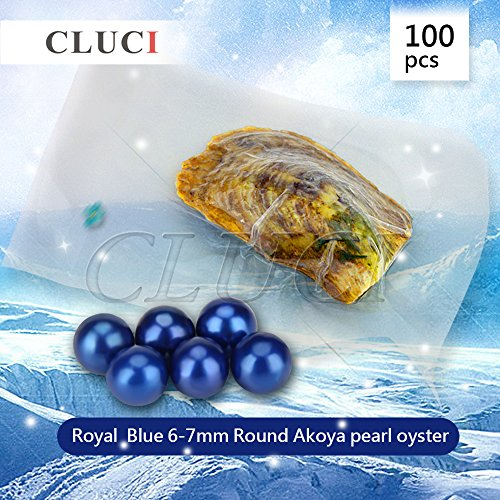 Ny Vacuum Package Akoya Round Cultured Pearl in Oyster 6-7mm 100pcs (Blue) by NY Jewelry (Image #1)