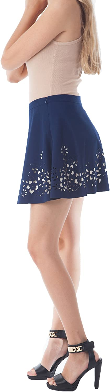 Kogmo Womens Fashion Flare Skirt with Floral Laser Cut and Colored Inner Lining