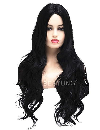 BESTUNG Peluca larga ondulada para mujer, pelo sintético, pelo completo, color negro natural