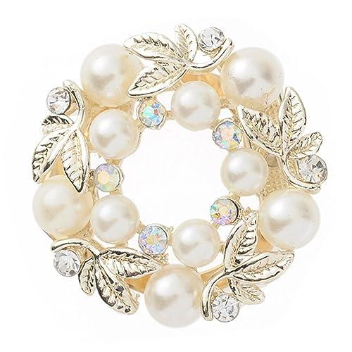 Sanwood - Anello ferma foulard di seta, clip elegante, finta perla e strass
