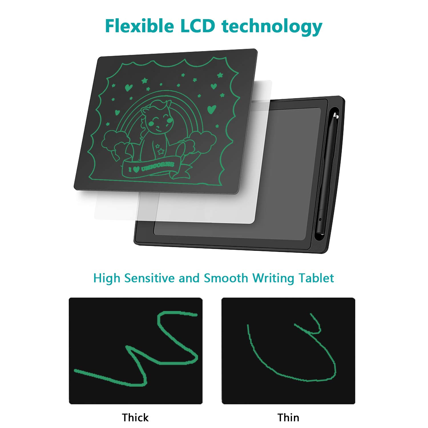 LCD Writing Tablet,GOODBONG 8.5 Inch Drawing Tablet Kids Tablets Doodle Board, Drawing Board Gifts for Kids and Adults at Home, School and Office (Black)
