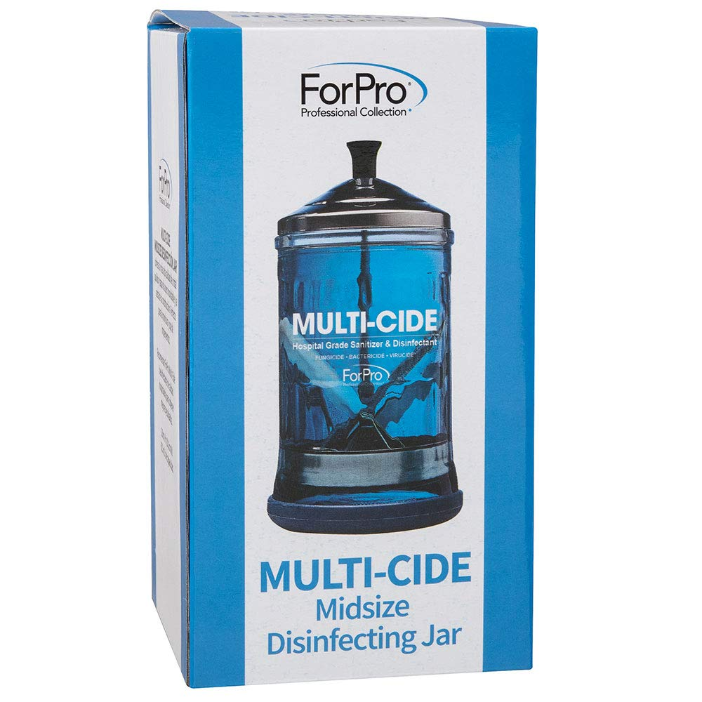 """ForPro Professional Collection Multi-Cide Midsize Disinfecting Jar - Disinfectant Glass Jar for Manicure & Spa Implements - 21 Ounces, 8"""" H x 4.25"""" W, Blue : Beauty"""