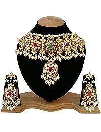 Fkraft Kundan Gold Plated Latest Wedding Necklace Jewelry Set for Women