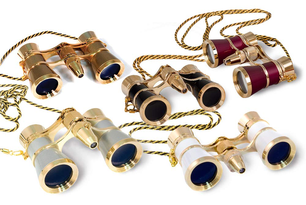 Levenhuk Broadway 325F Opera Glasses with LED Light and Chain, Gold