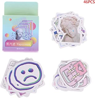 GROOMY 46 Teile/schachtel Vaporwave Label Kawaii Diary Handmade Adhesive Paper Flake Aufkleber Scrapbooking Stationery Decor DIY