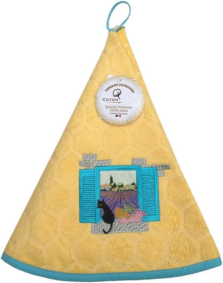 MCTISSUS Essuie Main Rond en /éponge Chat en Provence Jaune Qualit/é Premium