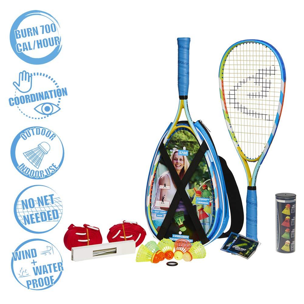 Speedminton S700 Set - Original Speed Badminton/crossminton All-Round Set That Includes 2 Rackets, 5 Speeder Tube, Easy Court, Bag, Blue