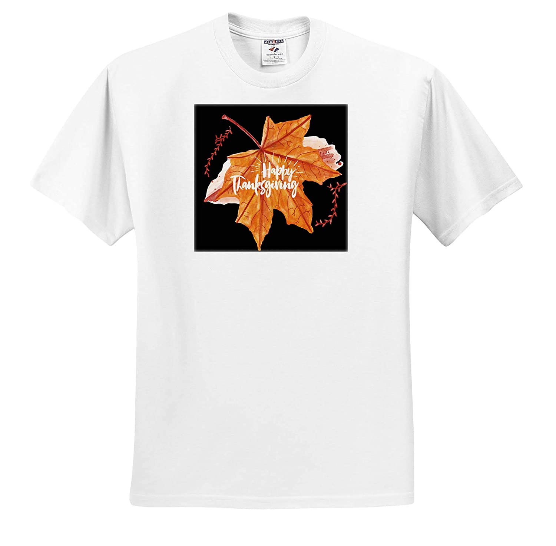 3dRose Sven Herkenrath Celebration Orange Autumn Leaf for Happy Thanksgiving T-Shirts