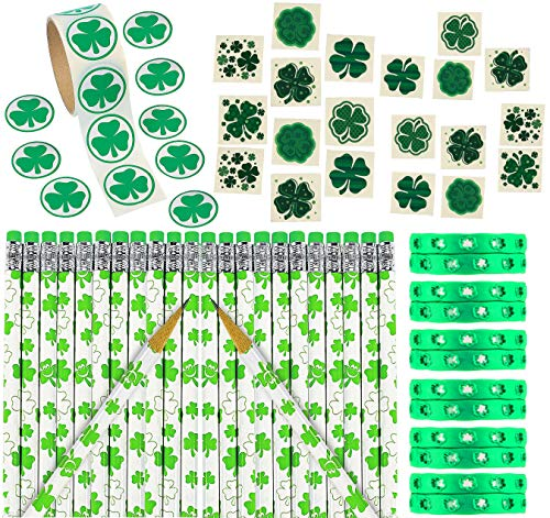 184 St. Patrick's Day Shamrock Irish Accessories Party Favors, Bulk Pack of 24 Patrick's Day Pencils, 24 Green Irish Rubber Bracelets, 36 Temporary Tattoos, Roll of 100 Leaves Stickers, Fun Supplies for Kids, By 4E's Novelty