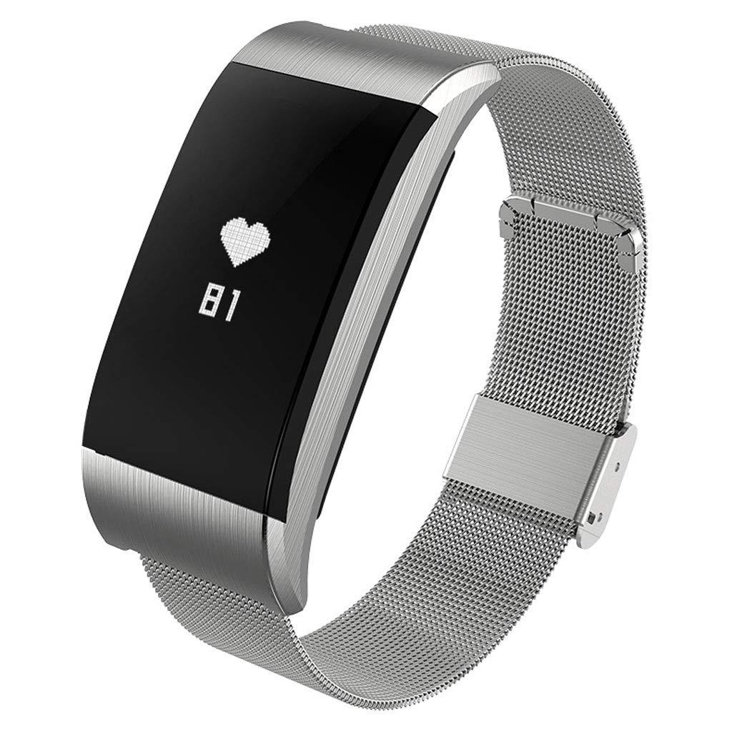 YangMi Sports Bracelet- Smart Waterproof Sports Bracelet Multi-Function Health Monitoring Heart Rate Blood Pressure Sports Bracelet (Color : Silver)