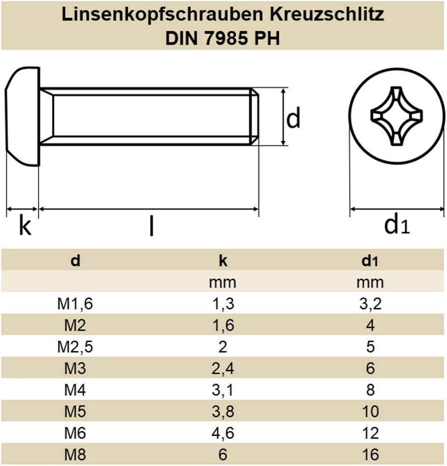 rostfrei mit Kreuzschlitz Linsenkopfschrauben 100 St/ück Kreuzschlitz Pozidriv ISO 7045 DIN 7985 Edelstahl A2 DERING Linsenschrauben M2x3 Z