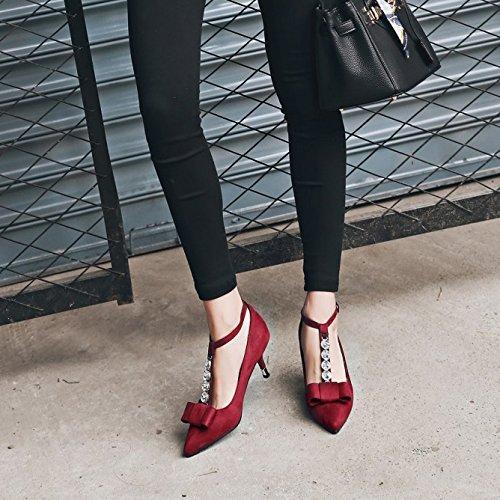 ALBOC Femmes T-sangle Diamante Mi-talon Cheville Sangle Boucle Soirée De Mariage Sandales Chaussures Red C0tWQFIy