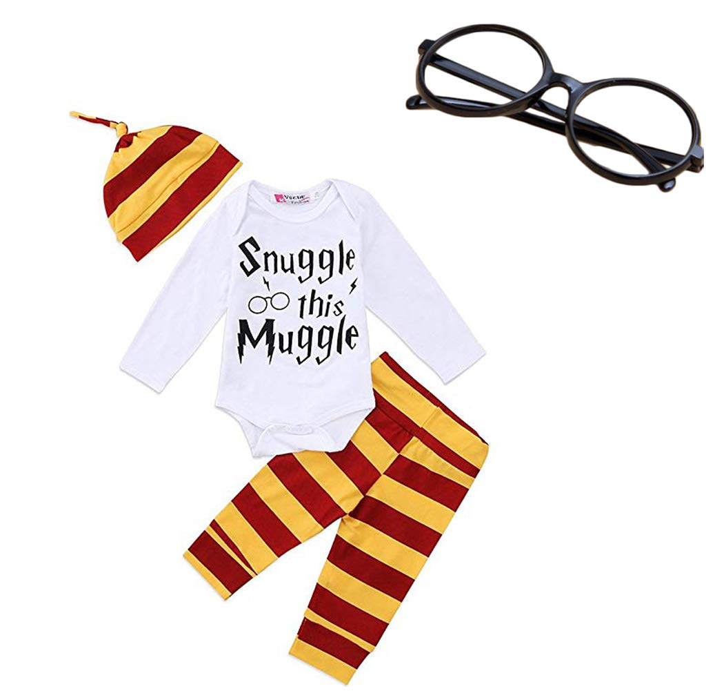 BABYcutest Baby Boys Girls Snuggle This Muggle Rompers Bodysuit and Striped Pants Hat 4Pcs Outfit with Glasses (White (Long Sleeve), 70/(0-6 Months))