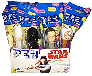 PEZ Candy Star Wars Random Assortment of Pez Dispensers With 2 Rolls of Refills Each (Pack of 12)