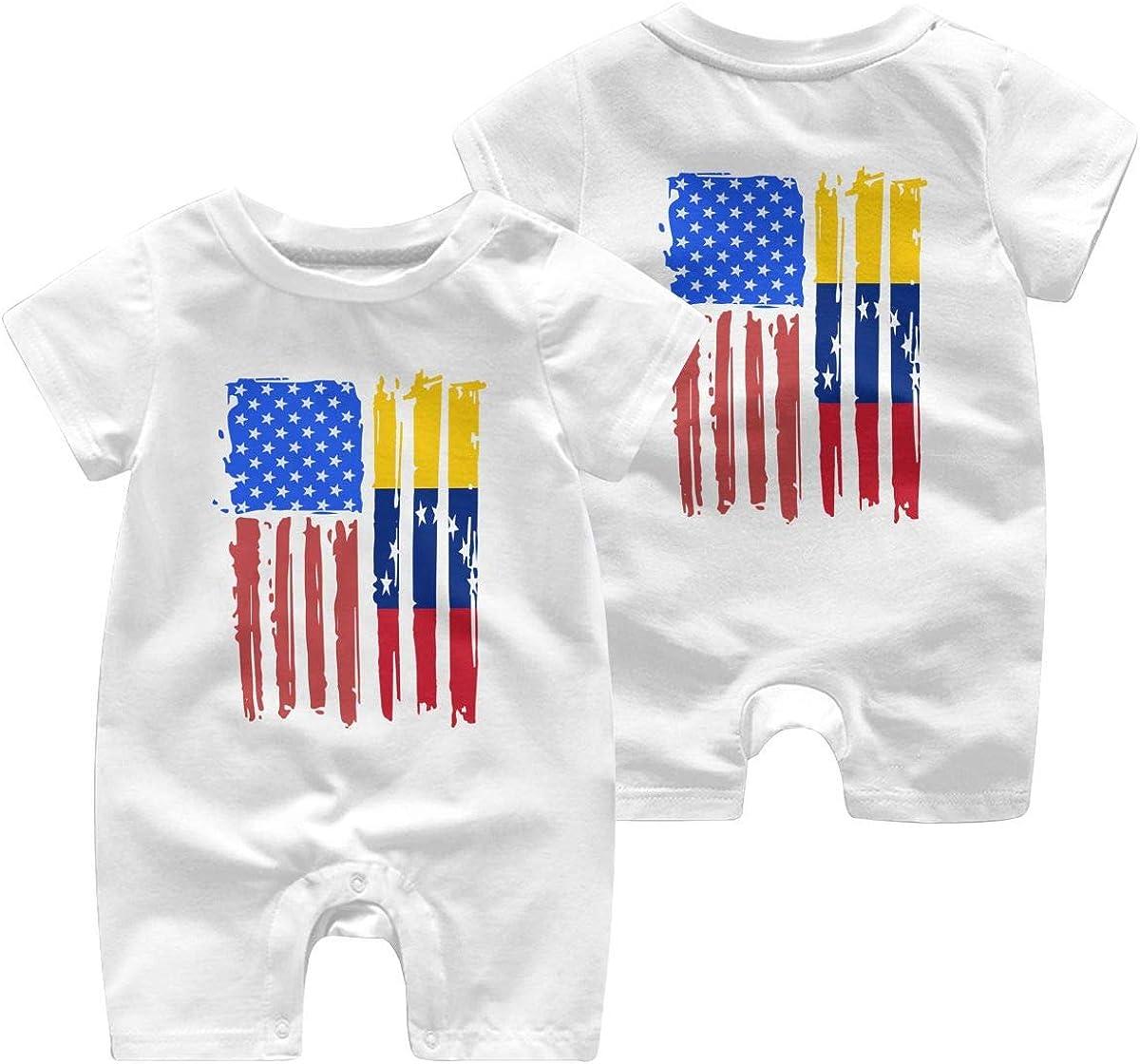 Mri-le1 Baby Girl Organic Coverall American Half Venezuela Flag Kid Pajamas