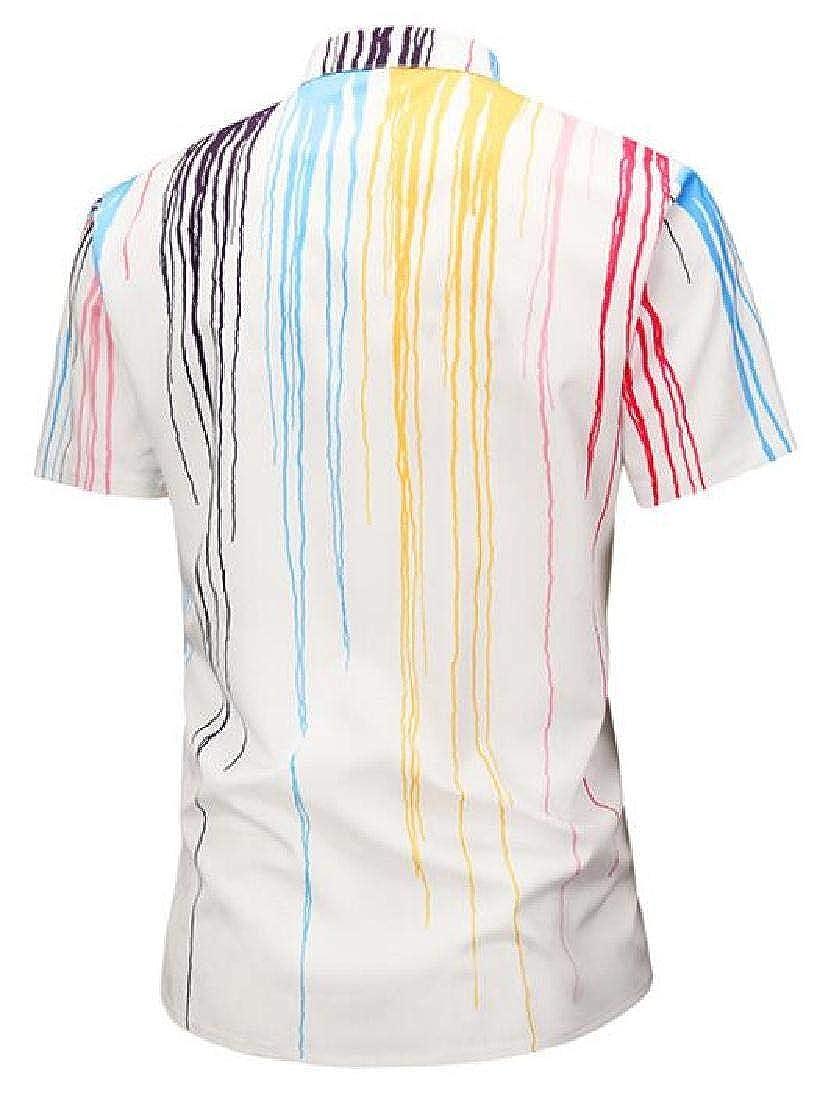 YYG Men Stripe Plus Size Lapel Collar Summer Casual Vogue Button Down Shirts Tops