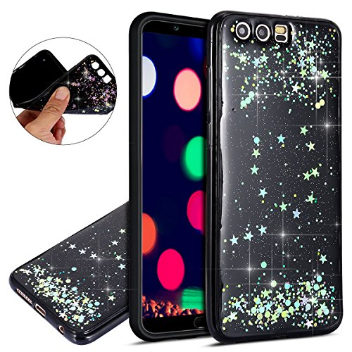 Price comparison product image IKASEFU Huawei honor 9 Case,Bling Star, Shiny Glitter Luxury Flash Powder ultra slim Soft TPU Silicone Rubber Bumper Thin Protective Sparkly Case for Huawei honor 9,Black Colorful