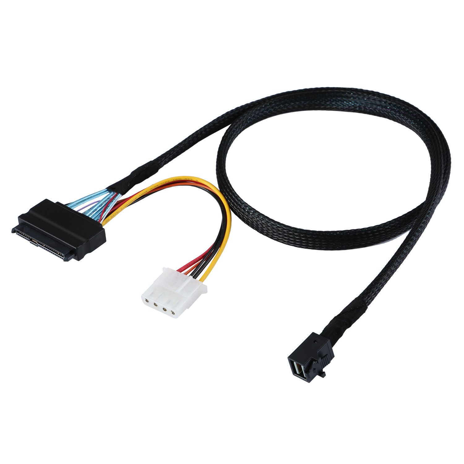 CableCreation 2.5FT Mini SAS HD Cable Internal Mini SAS SFF 8643 to U.2 SFF 8639 Cable with 4 Pin SATA Power Connector for Workstations,Servers and More by CableCreation (Image #4)