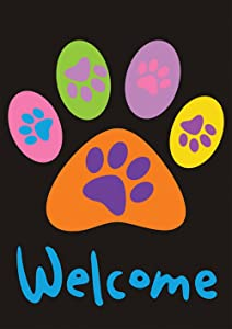 "Toland Home Garden 112670 Welcome Paws-Black 12.5 x 18 Inch Decorative, (12.5"" x 18""), Double Sided Garden Flag"