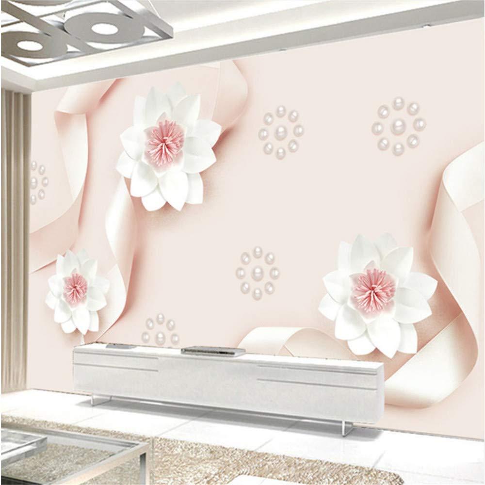Fushoulu Wand-Wohnzimmer-Sofa-Hintergrund Der Schönen Tapete 3D Schönes Rosa Seidenpapier, Das Blumen-Perle-Wandgemälde  3D Fresko Schnitzt-350X250Cm