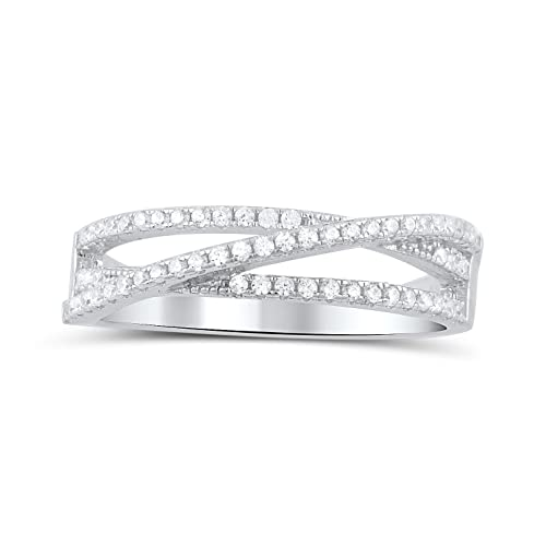 Sterling Silver Cz Thin Multi-Stacked Ring Size 4-9