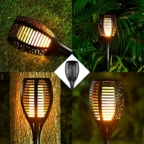 Solar Garden Lights, BHouse 10 pack Dancing Waterproof Flame Lighting 96 LED Flickering Torch Light for Patio Garden Path Yard Wedding Party (10) by BHouse (Image #4)