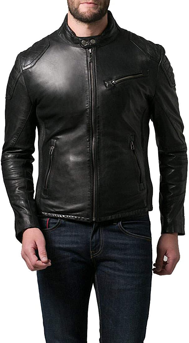 Mens Leather Jackets Motorcycle Bomber Biker Real Lambskin Leather Jacket for Men MJ172