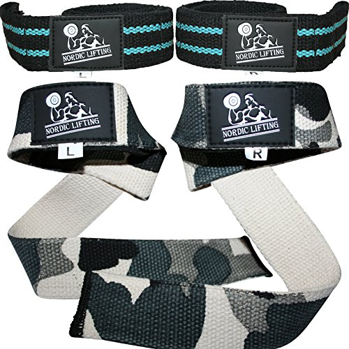 Lifting Straps (2 Pairs/4 Straps) for Weightlifting, Cross Training, Workout, Gym, Powerlifting, Bodybuilding-Support For Women & Men -Avoid Injury- (Aqua Blue & Camo Grey) - 1 Year Warranty (Mossberg Buckle Belt)