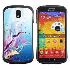 """Pulsar iFace Series Tpu silicona Carcasa Funda Case para Samsung Note 3 , Patrón floral de la lila Splash goteo Resumen"""""""
