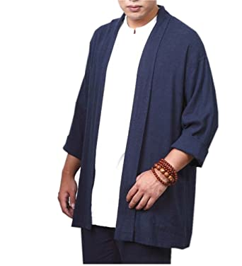 610d4968093 ZanYing Men Buddhist Linen Shirt Blouse Monk Outfit Blue Brown at Amazon Men s  Clothing store