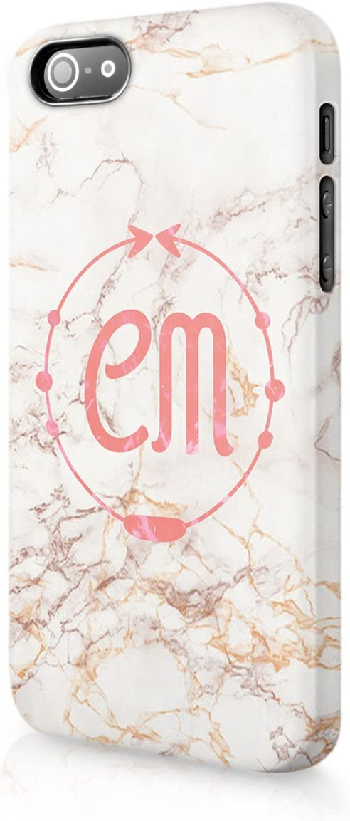 NOT REAL GLITTER Veined Marble Pink Stamp Stone Tirita Personalised Initials Custom Hard Phone Case Compatible with iPhone 12 /& 12 Pro PRINTED GLITTER