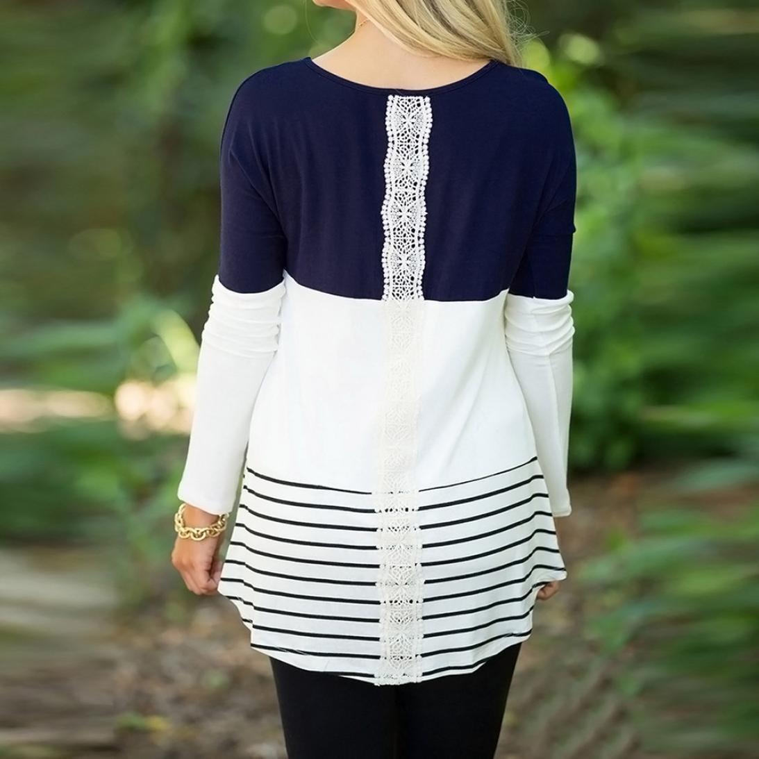 159e520082c Amazon.com  HANYI Women Plus Size Comfy Swing Long Sleeve Back Lace Floral  Tunics Tops Christmas Shirt Blouse (Navy