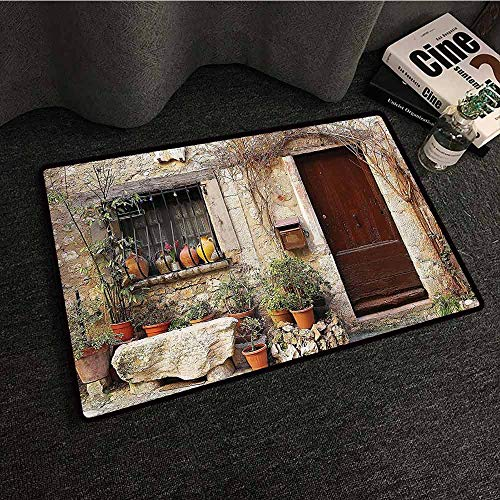 Shutters Decor Collection Bedroom Doormat Flowerpot Plants in Front Yard French Hilltop Village Saint Paul De Vence Heritage Easy to Clean Carpet W16 xL24
