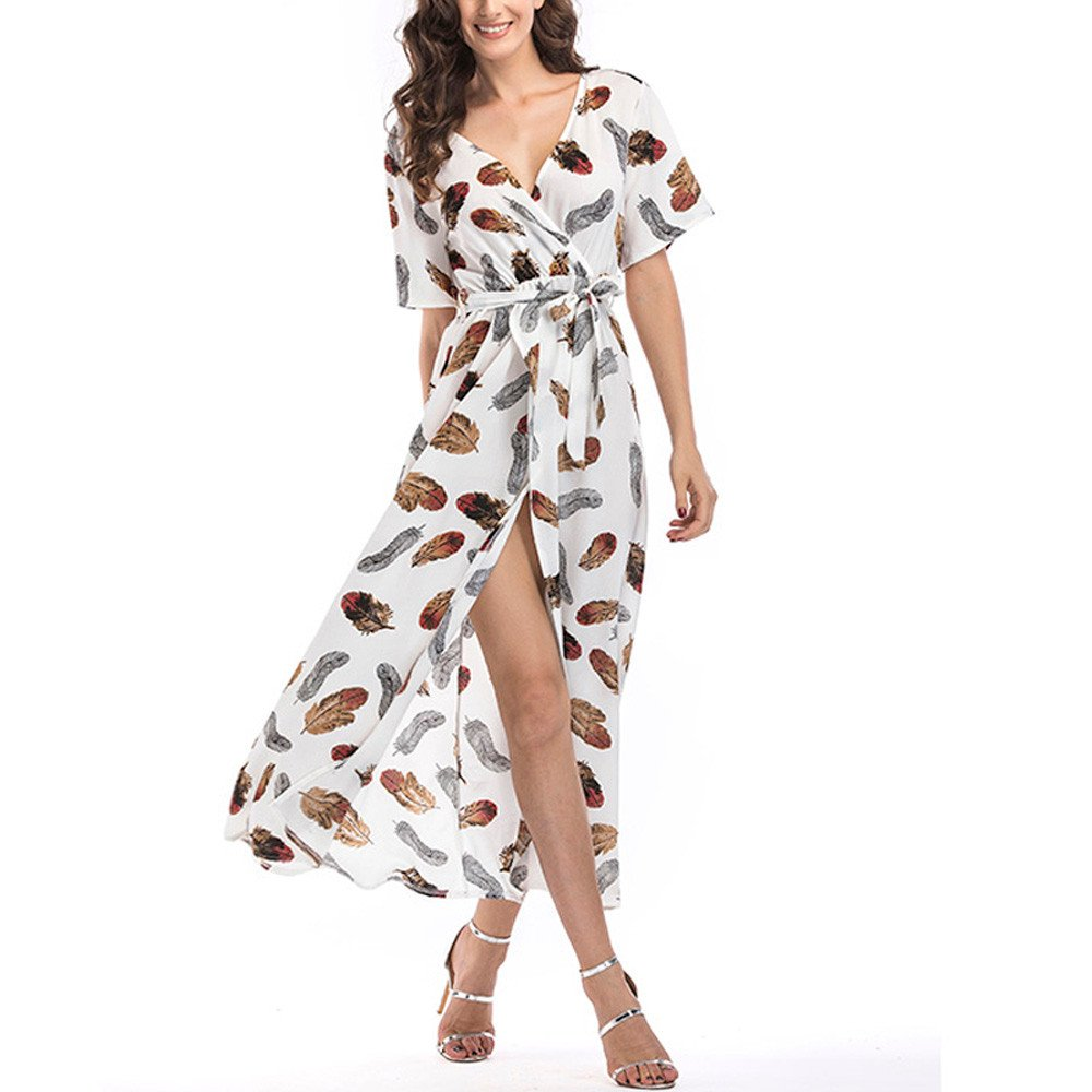 BIBICAT Wrap Maxi Dress Short Sleeve V Neck Floral Flowy Front Slit High Low Women Summer Beach Party Wedding Dress White by 🎈BIBICAT🎈 Clothes
