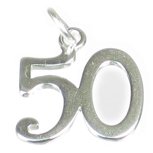 50 de plata de ley 925 para pulsera. 1 x Número Fifty ...