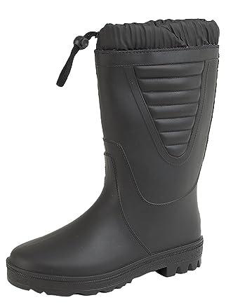 Boys Stormwells Black Polar Fishing Wellies Boots Warm Fleece Fur Lining  Size 4