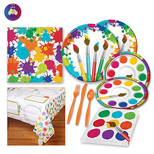 (Paint Party Supplies - Little Artist Party Supplies - Painting Art Themed Birthday for 8 Guests includes Dinner Plates Dessert Plates Napkins Tablecover and)