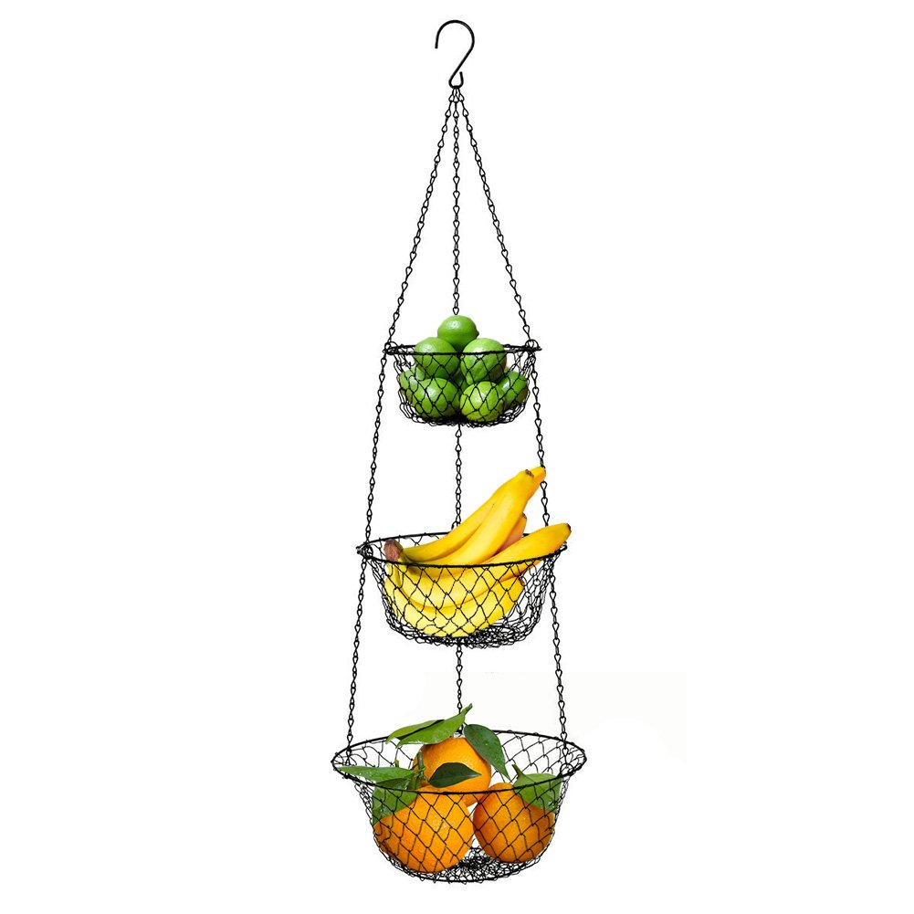 Hanging Basket Storage 3-Tier Metal Wire for of Fruits Or Vegetables, Kitchen Or Home Storage Accessories, Black malmo