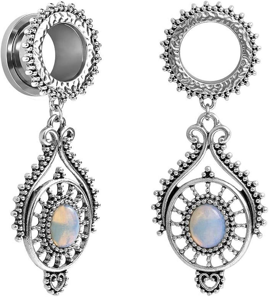 1-3//16 inch TBOSEN Stainless Steel Teardrop Opal Wedding Earrings Large Dangle Bridal Plug Ear Gauges Stretching Tapers Screw Fit Tunnels Gauge 2g