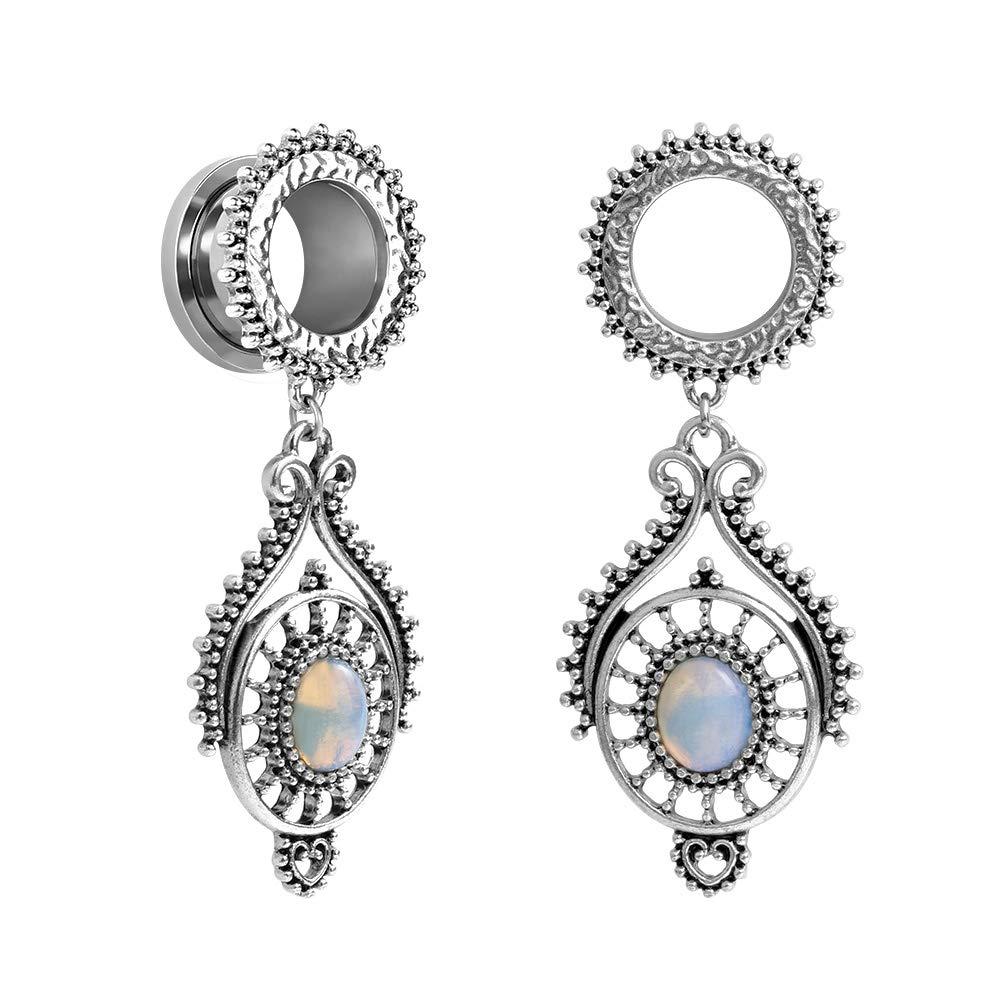 TBOSEN Stainless Steel Teardrop Opal Wedding Earrings Large Dangle Bridal Plug Ear Gauges Stretching Tapers Screw Fit Tunnels OG9618S-8