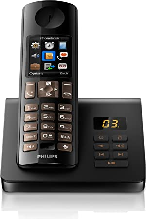 Philips D7051B/38 - Teléfono inalámbrico DECT (contestador automático, control del terminal móvil por manos libres, sonido HQ), color negro (importado): Amazon.es: Electrónica