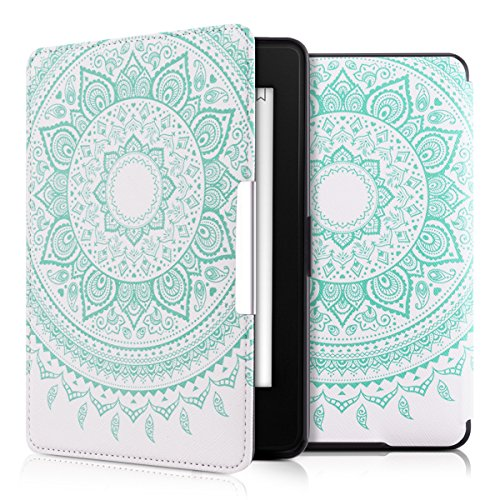 kwmobile Case for Amazon Kindle Paperwhite - Book Style PU Leather Protective e-Reader Cover Folio Case - (for 2017 and Older) Mint/White