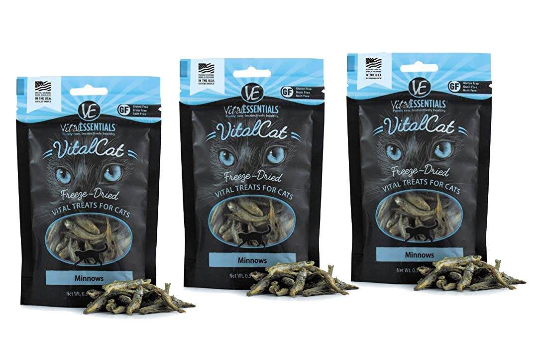 Vital Cat Freeze-Dried Grain-Free Minnows Treat for Cats, 3 Pack.5 oz Each Resealable Bag by Vital Essentials