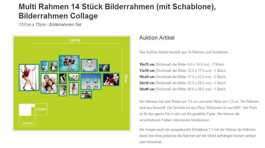 Amazon.de: 14er B SET Fotocollagen Bilderrahmen Foto Bild Galerie ...