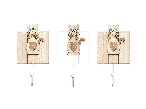 Conjunto de 3 ganchos de perchero pared madera colgador solo ...