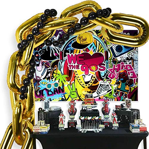 90s Party Decorations Balloon Garland Kit, Hip Pop Theme Backdrop, 10 Chain Balloons,30 Link Balloons for 80s 90s Hip Hop Retro Disco Theme Birthday Wedding Supplies Photo Booth Props